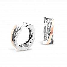 Серебряные серьги-колечки Олеся с золотыми накладками и фианитами