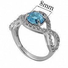 Серебряное кольцо с топазом и фианитами Аурика