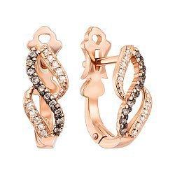 Серьги в комбинированном цвете золота с коньячными и белыми бриллиантами 000131449
