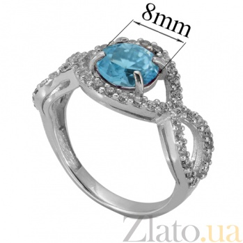 Серебряное кольцо с топазом и фианитами Аурика 000018784