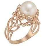 Золотое кольцо Джулия с жемчугом и фианитами