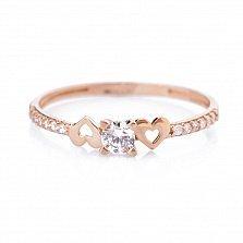 Золотое кольцо Моя любовь с фианитами и сердцами