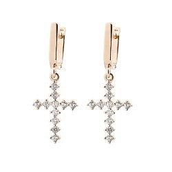 Золотые серьги-крестики с фианитами Латоя