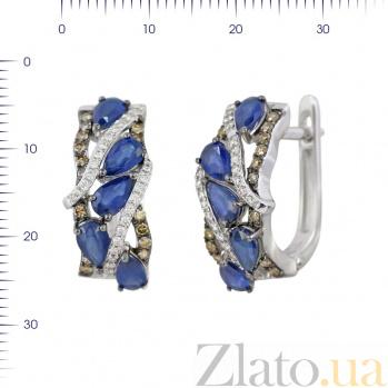 Серьги из белого золота Изольда с сапфирами, белыми бриллиантами и цвета шампань 000081217