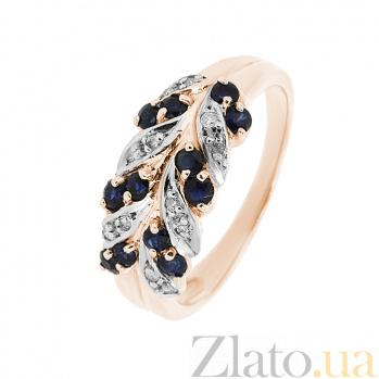 Золотое кольцо Колосок в красном цвете с сапфирами и бриллиантами ZMX--RS-15089_K