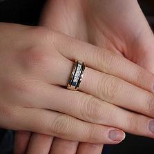 Кольцо из серебра Мадонна з золотыми вставками и фианитами
