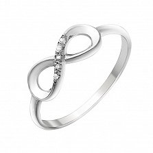 Золотое кольцо Вечность с тобой в белом цвете с бриллиантами