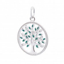 Серебряная подвеска Древо жизни с белыми и зелеными листочками-фианитами