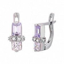 Серьги из серебра с фиолетовым цирконием Кира