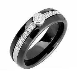 Керамическое кольцо с серебром и фианитами Эклектика 000028136