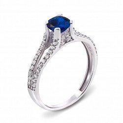 Серебряное кольцо с синтезированным сапфиром и фианитами 000136332