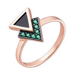 Золотое кольцо Двойной треугольник с черным агатом и зелеными кристаллами 000101854