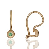 Золотые сережки Лучики с зелеными фианитами