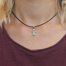 Серебряный крест Олицетворение веры с чернением и позолотой