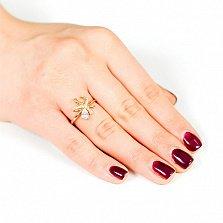 Золотое кольцо с кристаллами Swarovski Букетик