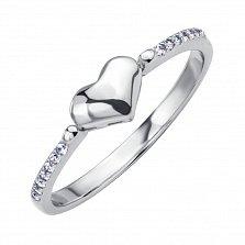 Серебряное кольцо Тропа любви с фианитами