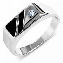 Серебряный перстень Триам с черной эмалью и белым фианитом