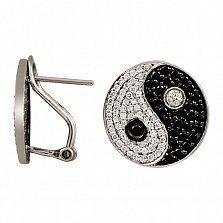 Серьги из белого золота Инь-Янь с черными и белыми бриллиантами