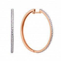 Золотые серьги-кольца в комбинированном цвете с фианитами 000126180