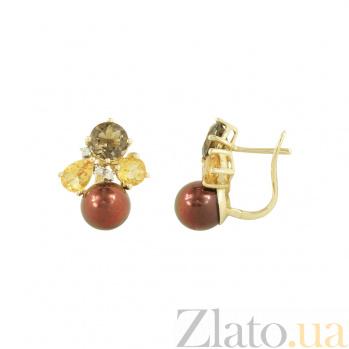 Золотые серьги с жемчугом, раухтопазом и бриллиантами Мадемуазель 1С309-0009