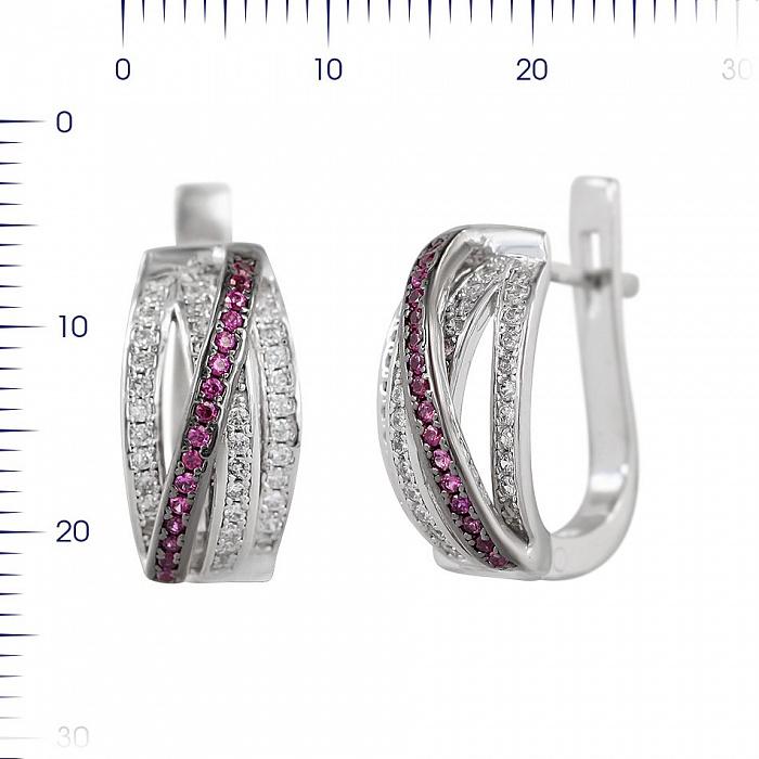 Серебряные серьги Азиза с синтезированными рубинами и фианитами 000081843