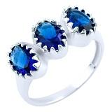 Серебряное кольцо Нитья с синтезированными сапфирами