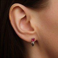 Серебряные серьги Нюша с рубином и фианитами