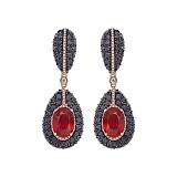 Золотые серьги Maria с рубинами и бриллиантами