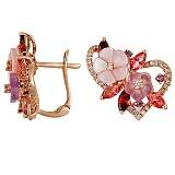 Золотые серьги с аметистами, гранатами, розовыми топазами и перламутром Расцвет любви