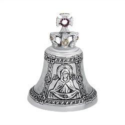 Бронзовый колокольчик Покров Пресвятой Богородицы с красными и желтыми фианитами 000004460