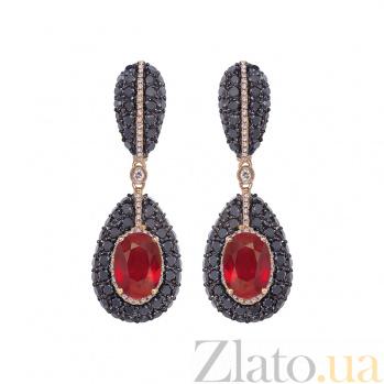 Золотые серьги Maria с рубинами и бриллиантами 1С759-0229