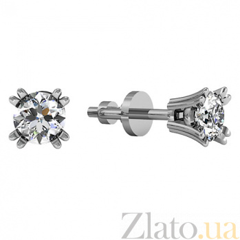 Серьги-пуссеты из белого золота с бриллиантами Нелли KBL--С2204/бел/брил