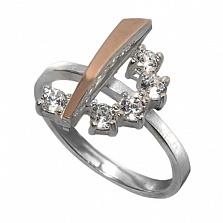 Серебряное кольцо с золотой вставкой и фианитами Веночек