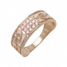 Золотое кольцо Роксет с кварцем и эмалью