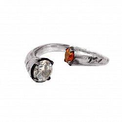 Кольцо из серебра Bi с оранжевым и белым цирконием 000091339