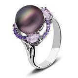 Серебряное кольцо с чёрным жемчугом и цирконием цвета аметист Калейдоскоп