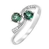 Серебряное кольцо Кометы с зеленым кварцем и фианитами