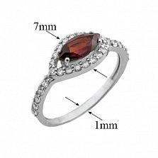 Серебряное кольцо Мелисса с гранатом и фианитами