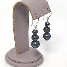 Серебряные серьги-подвески Сиона с черным жемчугом