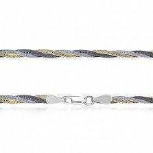 Серебряная цепочка Луанда с позолотой и чернением, 5 мм, 50 см