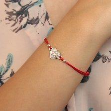 Шелковый браслет Первая любовь с серебряной вставкой