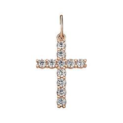 Крестик из красного золота с цирконием 000141657