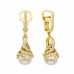 Серьги-подвески из желтого золота с жемчугом и фианитами 000133855