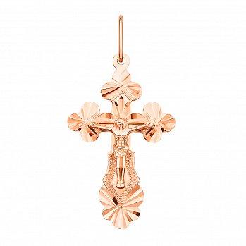 Золотой крестик с узорной насечкой 000071096