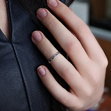 Серебряное кольцо на фалангу пальца Арабеска
