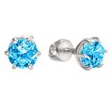 Серебряные пуссеты Болеро с голубым цирконием