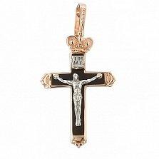 Золотой крестик Сила веры с эмалью
