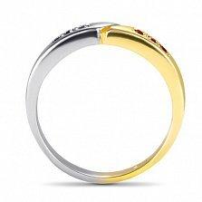 Кольцо Двойная удача в белом и красном золоте с синтезированными сапфирами и рубинами