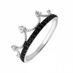 Кольцо-корона из белого золота с черными и белыми фианитами 000103944