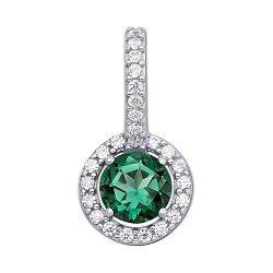 Серебряная подвеска с зеленым кварцем и фианитами 000133247